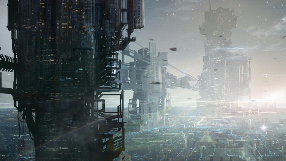 Futuristic city concept art wallpaper