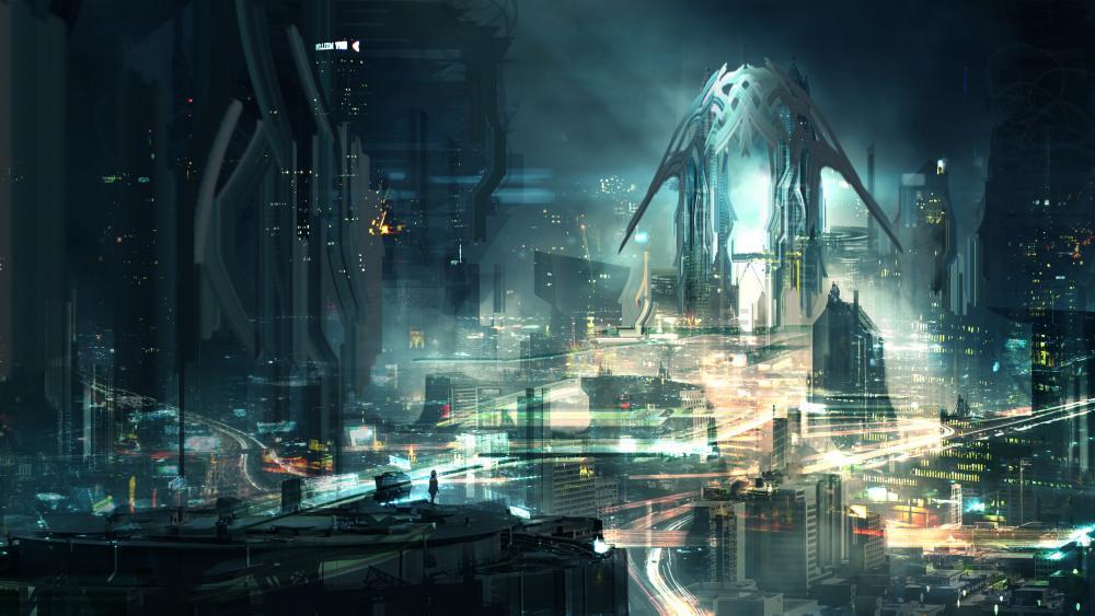 Scifi metropolis cyberpunk art wallpaper