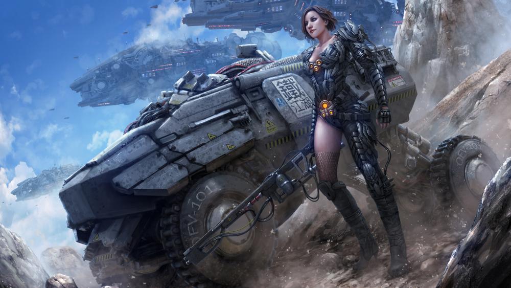 Soldier female cyborg wallpaper