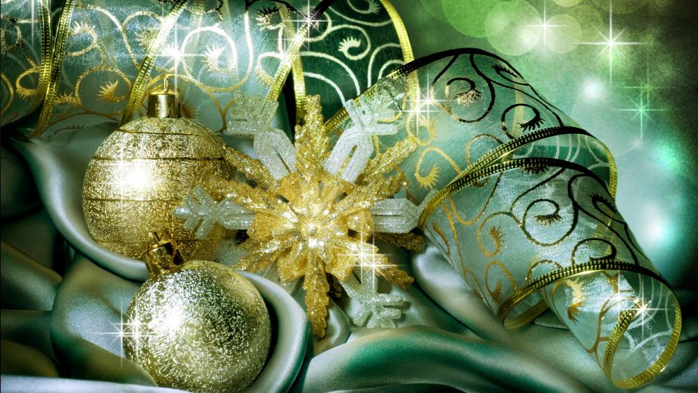 Gold and pale green christmas decoration wallpaper