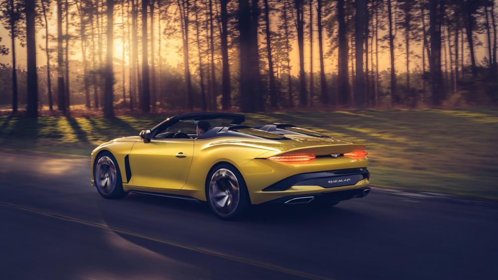 Yellow Bentley Mulliner Bacalar side view wallpaper
