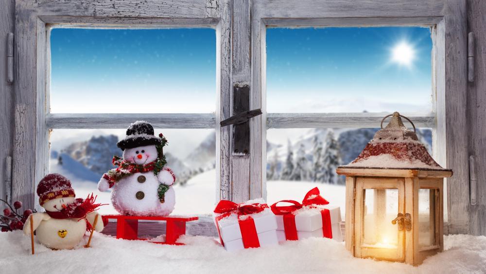 Christmas lantern in the window ⛄ wallpaper