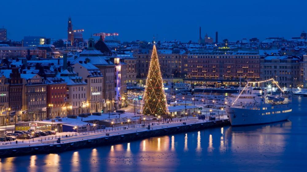 Stockholm in the Christmas season wallpaper