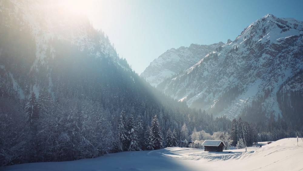 Mittelberg in winter wallpaper
