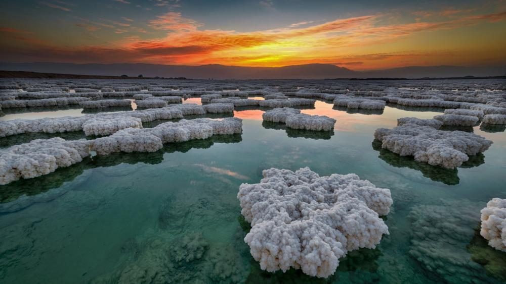 Dead Sea in the sunrise from Israel wallpaper