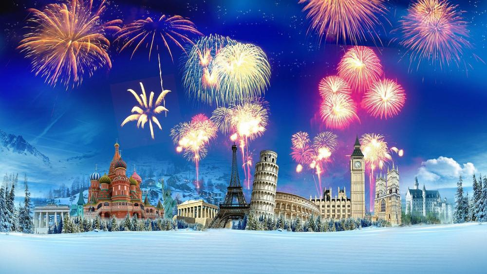 New Year's Eve around the world wallpaper