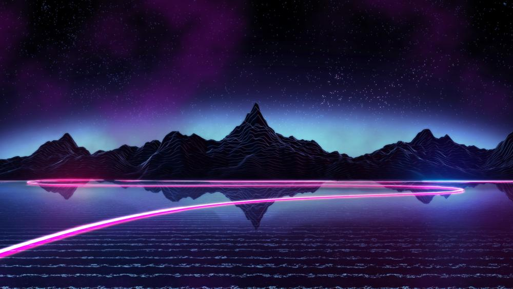 Purple digital landscape wallpaper