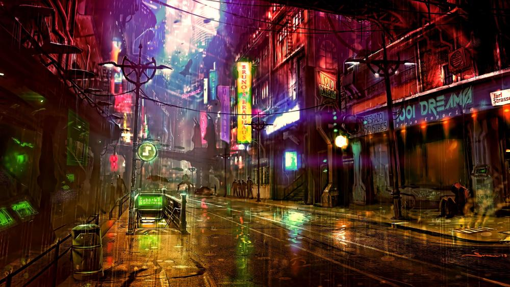 City view during nighttime wallpaper