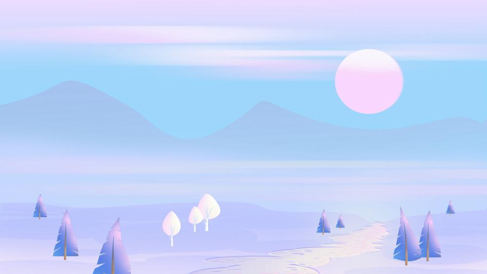 Blue and purple minimal landscape wallpaper