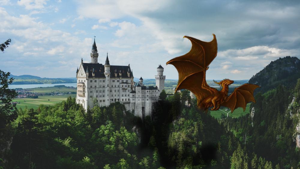 Dragon of the Neuschwanstein Castle wallpaper