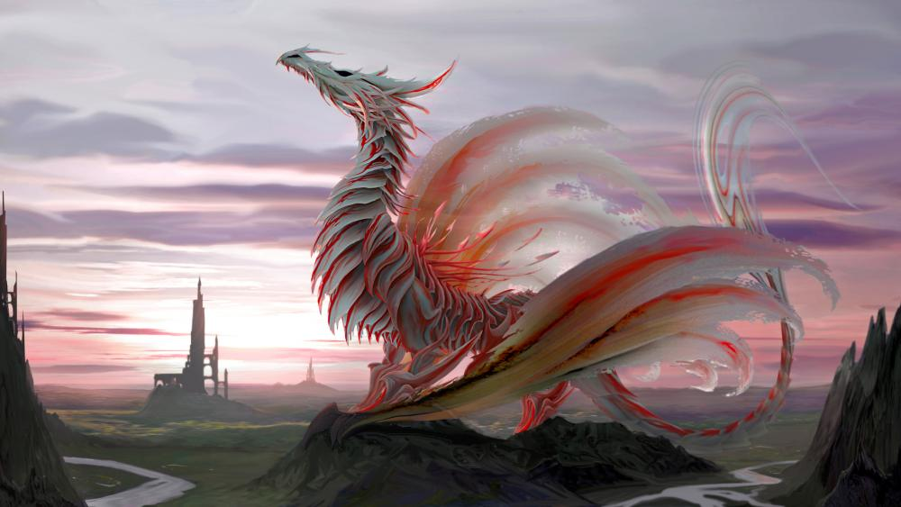 Pink dragon wallpaper