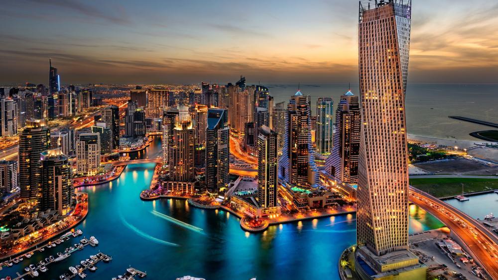 Dubai skyline at dusk wallpaper