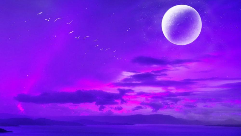 Purple moon wallpaper