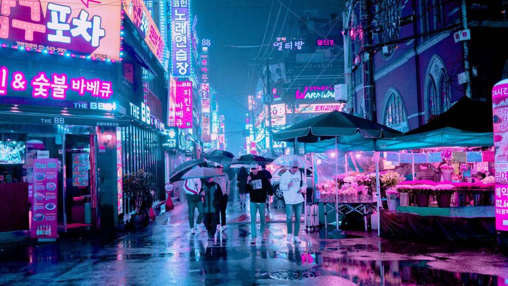 Neon Seoul wallpaper
