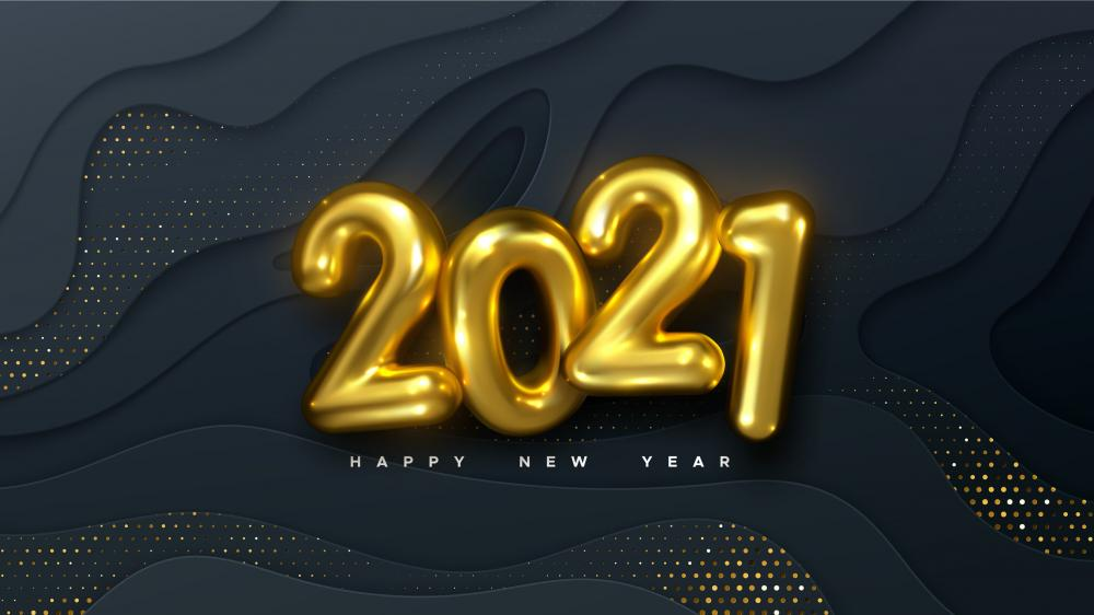 Gold 2021 Happy New Year wallpaper