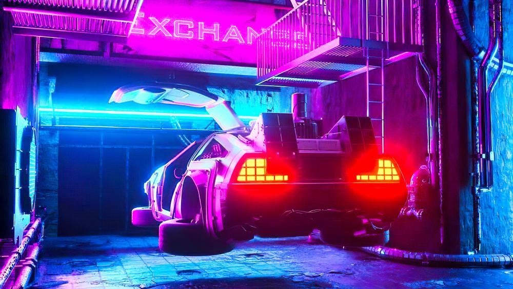 DeLorean time machine wallpaper