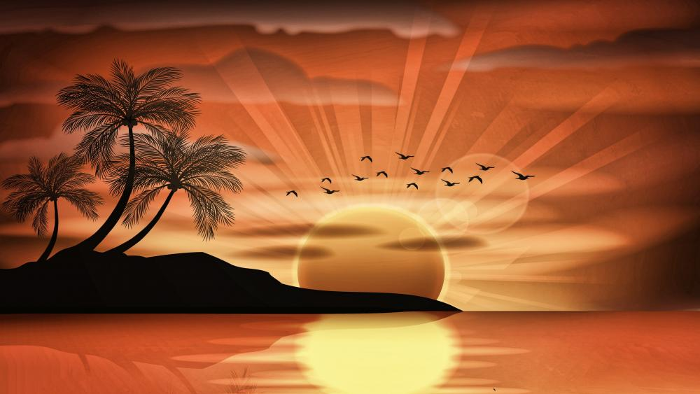 Romantic sunset digital landscape wallpaper
