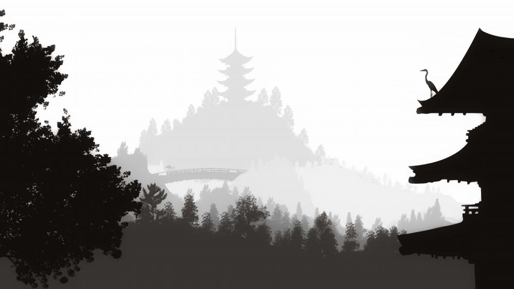 Pagoda silhouette Japanese art wallpaper