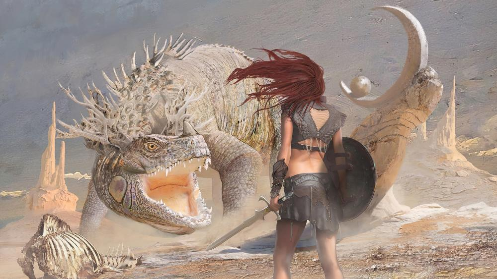Warrior women vs dragon wallpaper
