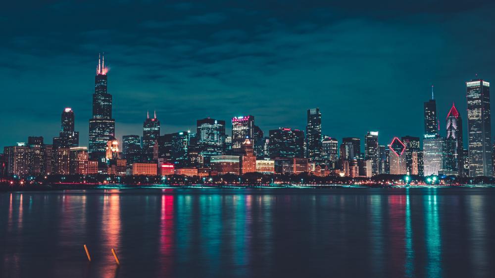 Chicago at night wallpaper