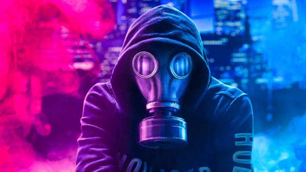Gas mask and neon smoke wallpaper