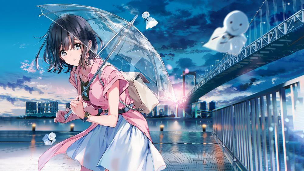 Anime girl with transparent umbrella wallpaper