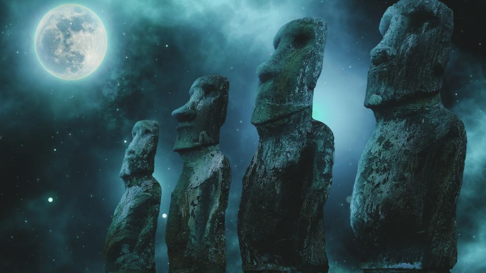 Easter Island stone statues at full moon wallpaper