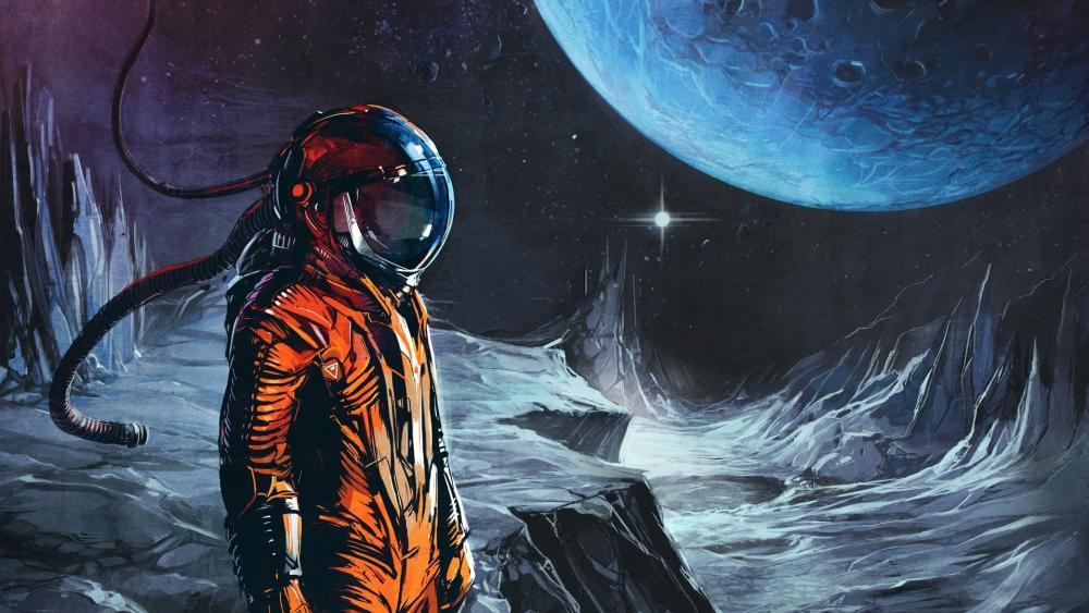 Retro sci-fi art wallpaper