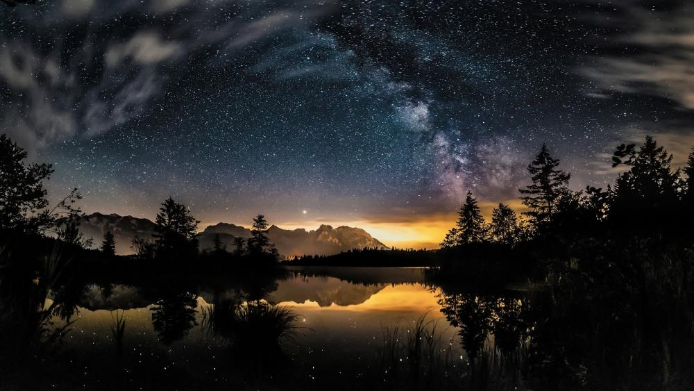Spectacular starry night photo wallpaper