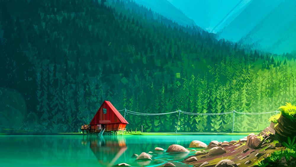 Lakeside cottage digital illustration wallpaper
