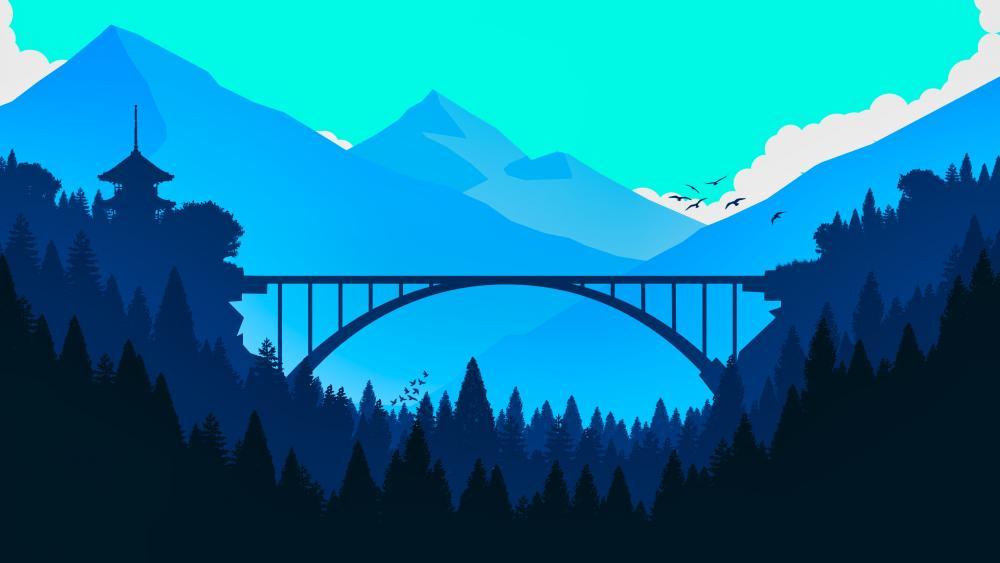 Blue minimal oriental landscape wallpaper