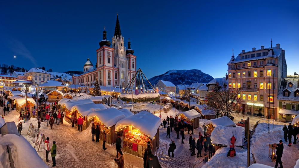 Mariazell Christmas market wallpaper
