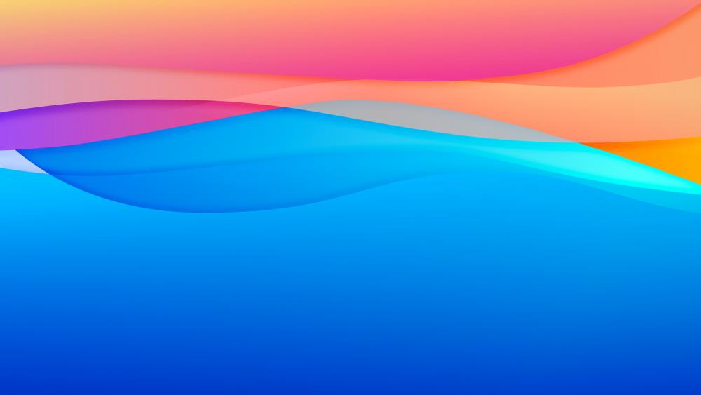 Blue, pink, yellow waves wallpaper