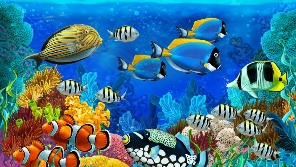 Colorful coral fishes illustration wallpaper