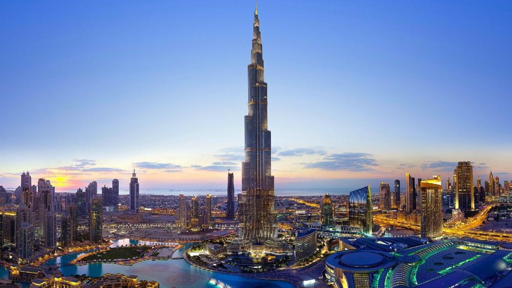 Sunset at Dubai (Burj Khalifa) wallpaper