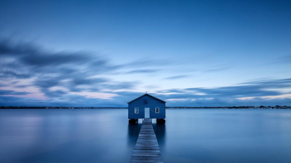 Blue Boat House wallpaper