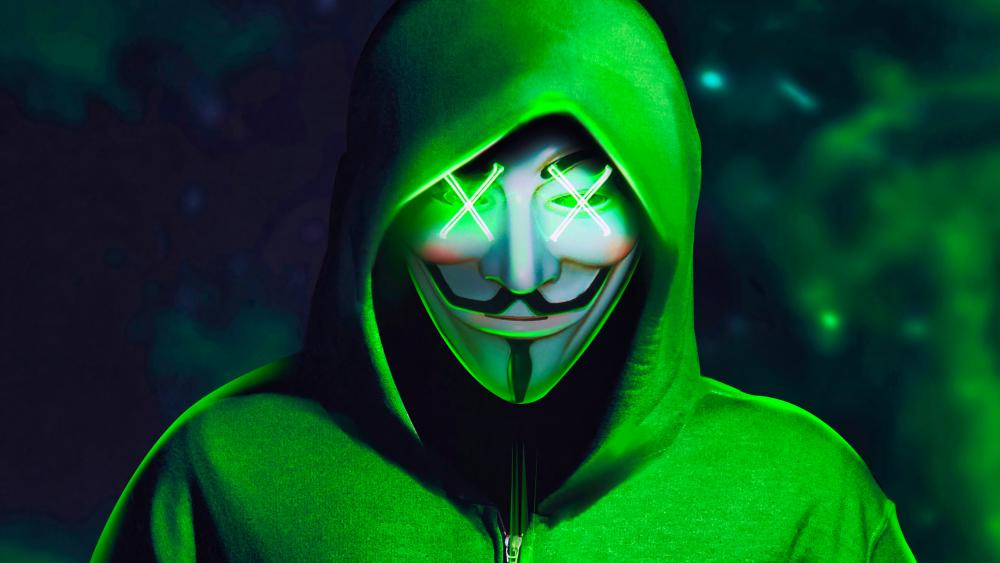 Neon XX Guy Fawkes Mask wallpaper