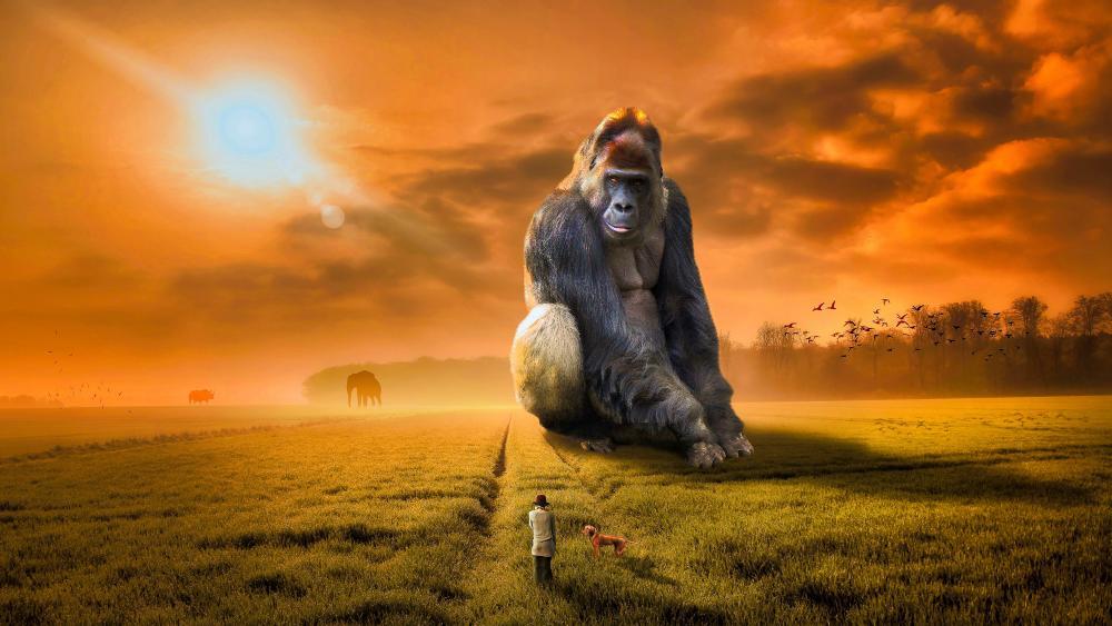 Giant gorilla wallpaper