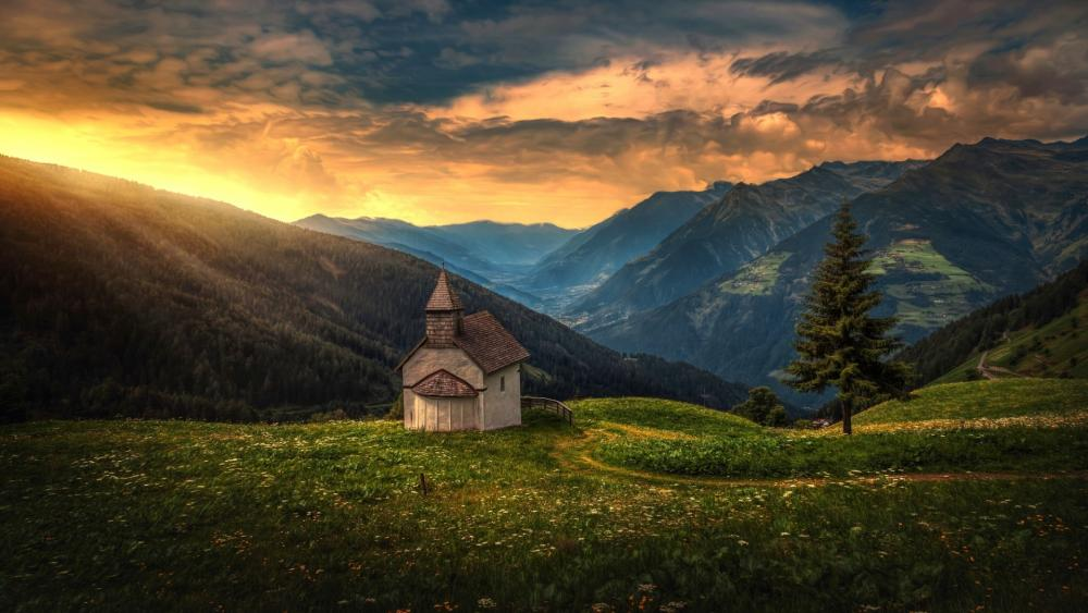 Little Church in the mountains wallpaper