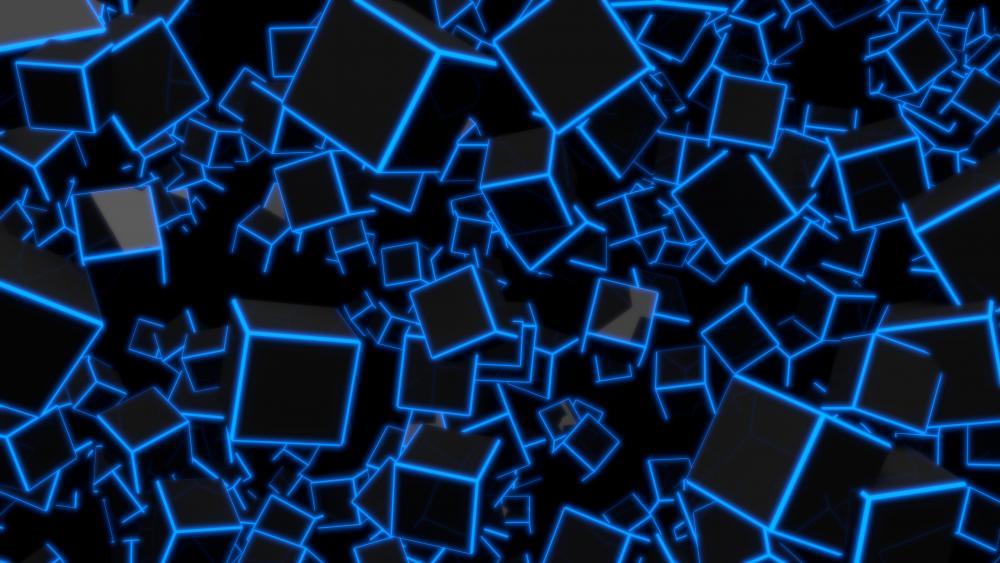 Blue 3D Cubes wallpaper