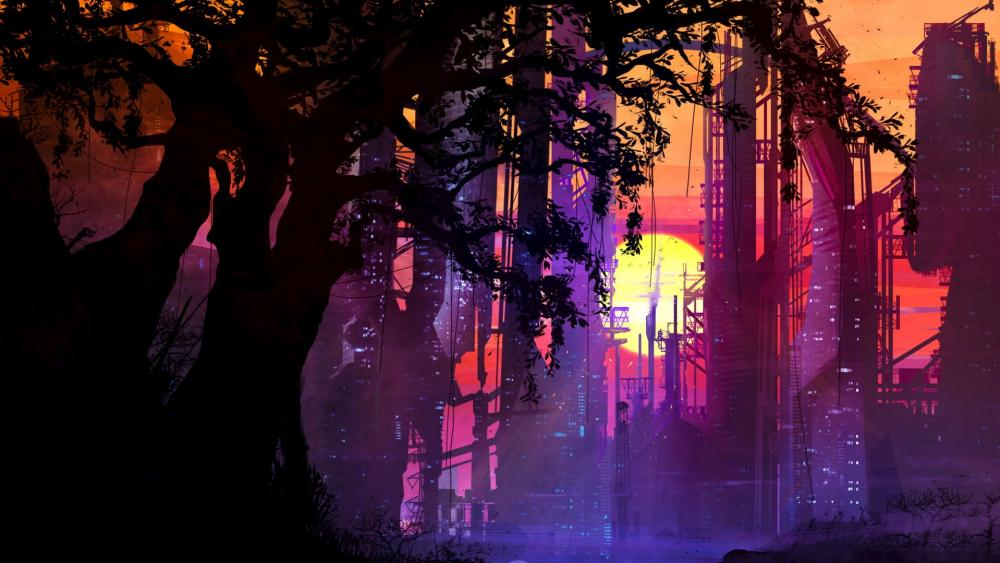 Futuristic City Sunset wallpaper