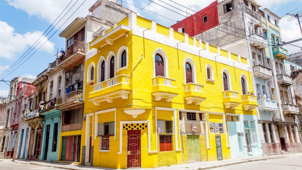 Yellow house wallpaper