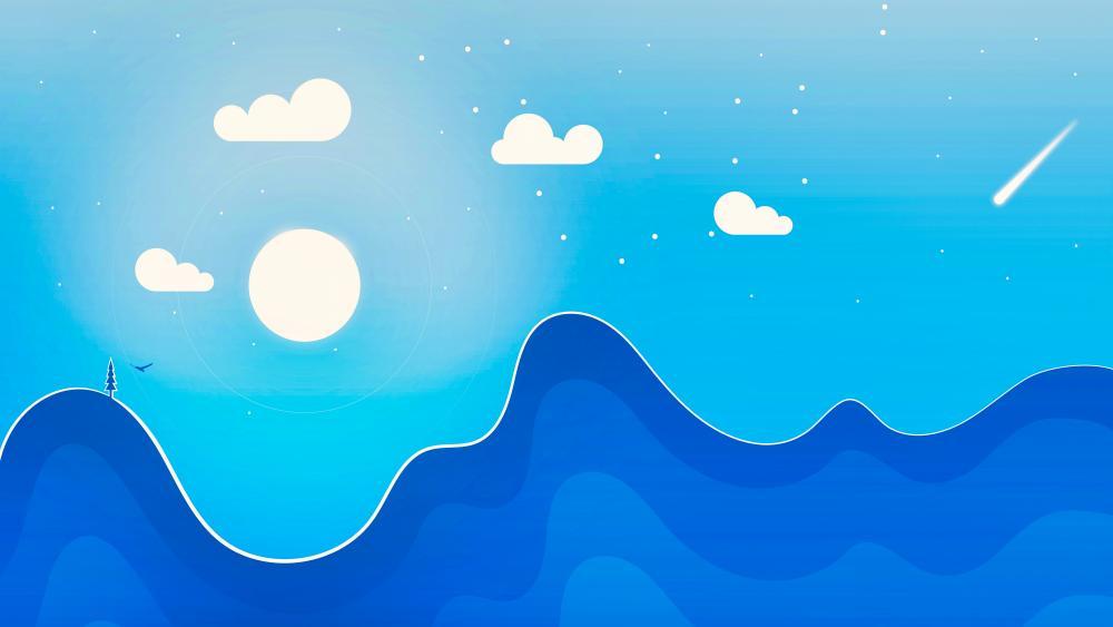 Blue minimalist landscape wallpaper