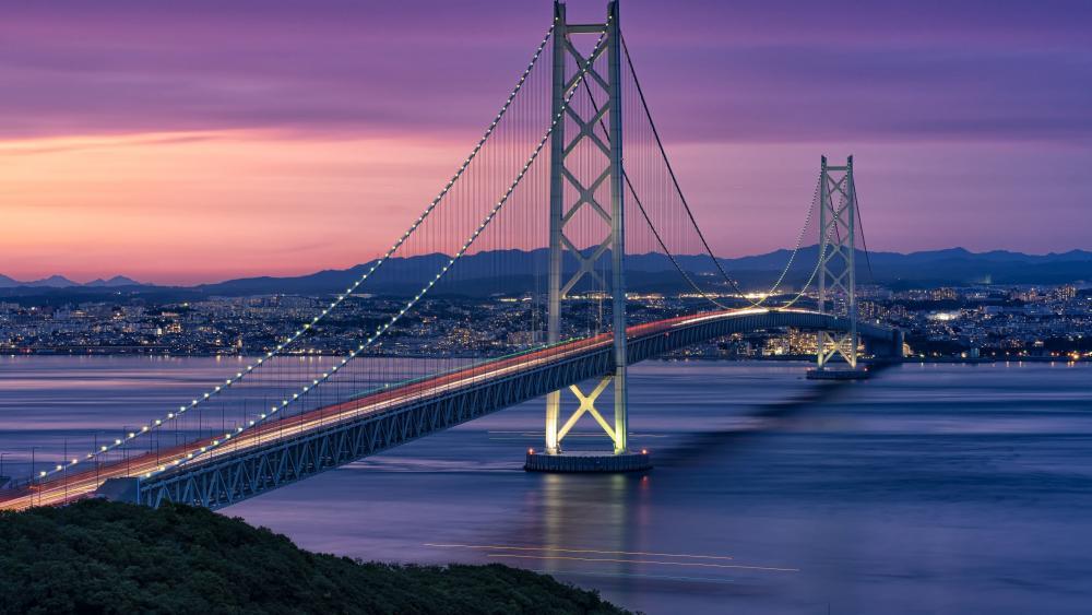 Evening Scenes of Akashi Kaikyō Bridge wallpaper
