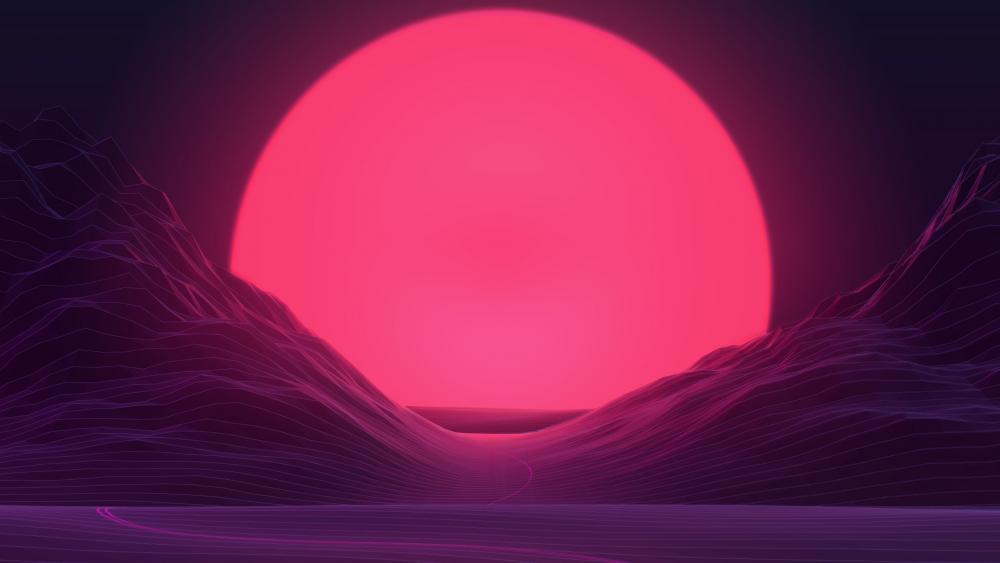 Vaporwave pink sunset wallpaper