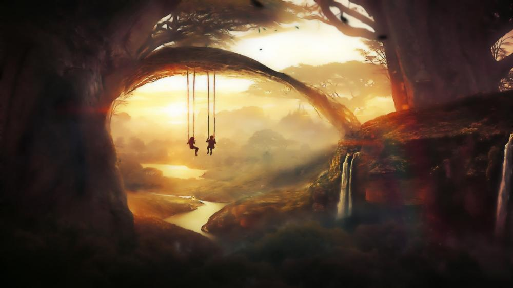 Riding on swing above the river wallpaper