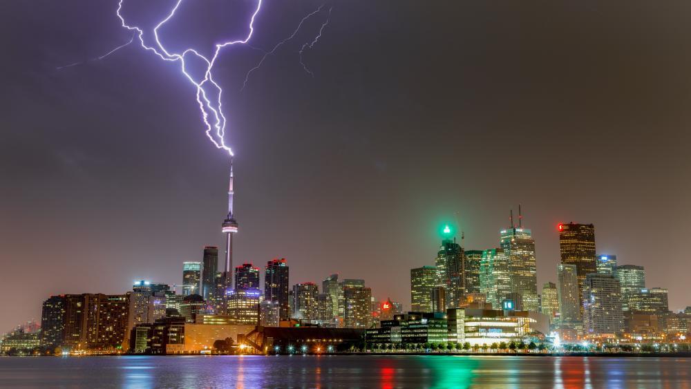 CN Tower lightning strikes wallpaper