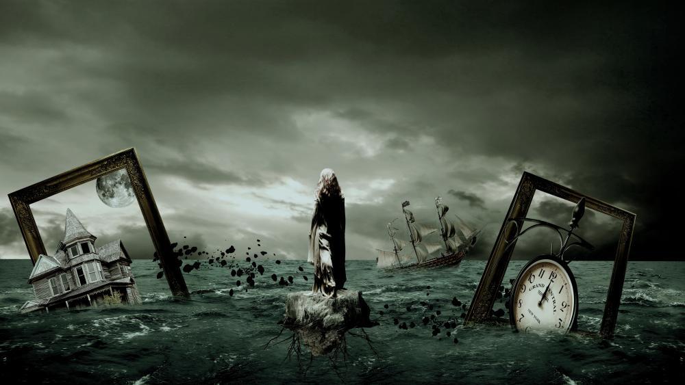 Gloomy future surrealistic art wallpaper