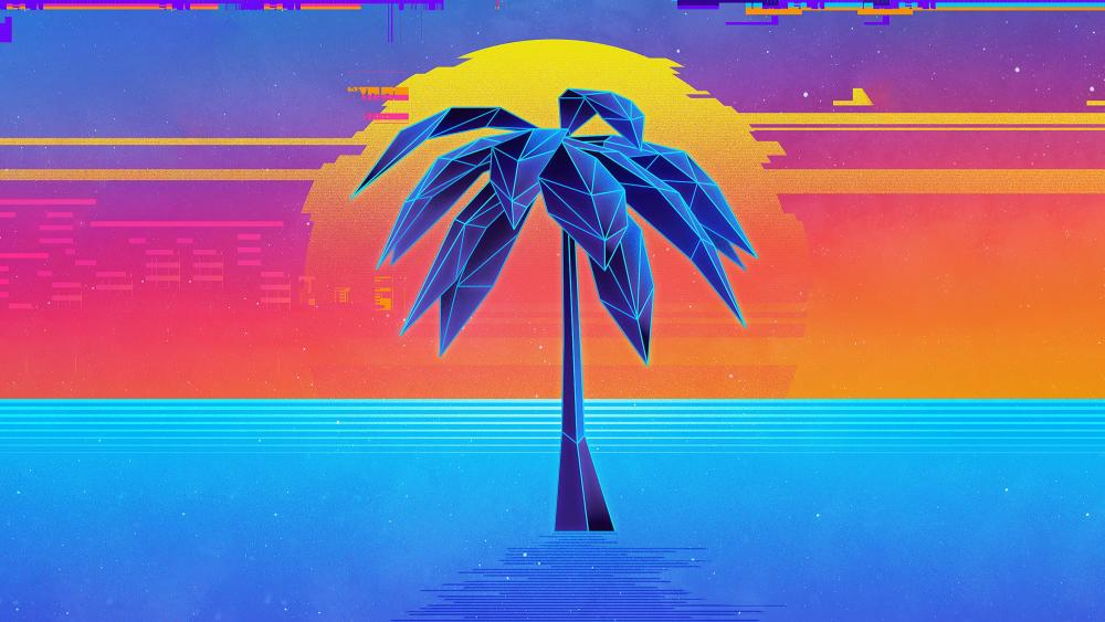 Retro style neon vaporwave palm tree wallpaper