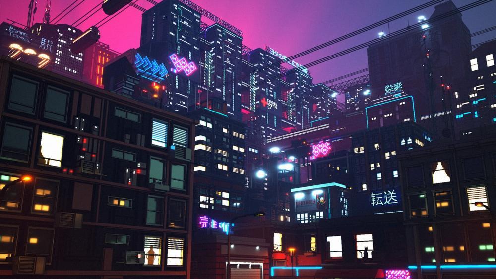 Futuristic city digital art wallpaper